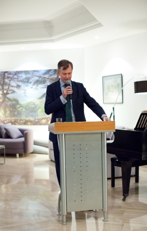 HE Hugo Shorter welcoming his guests at the Residence Feb 2016