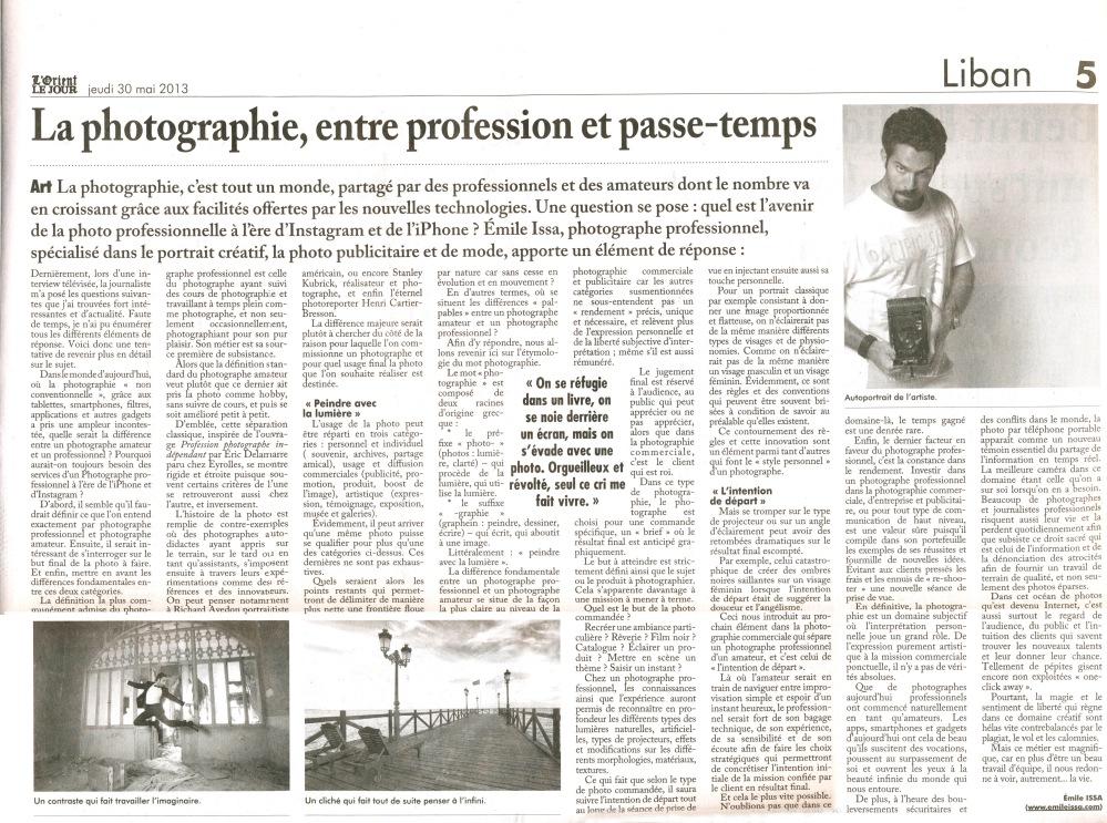 L'Orient Le Jour Article Photo Publicitaire