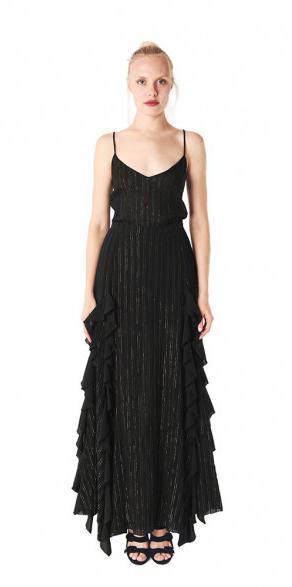 Madonna Black & Gold striped skirt / Jessica K