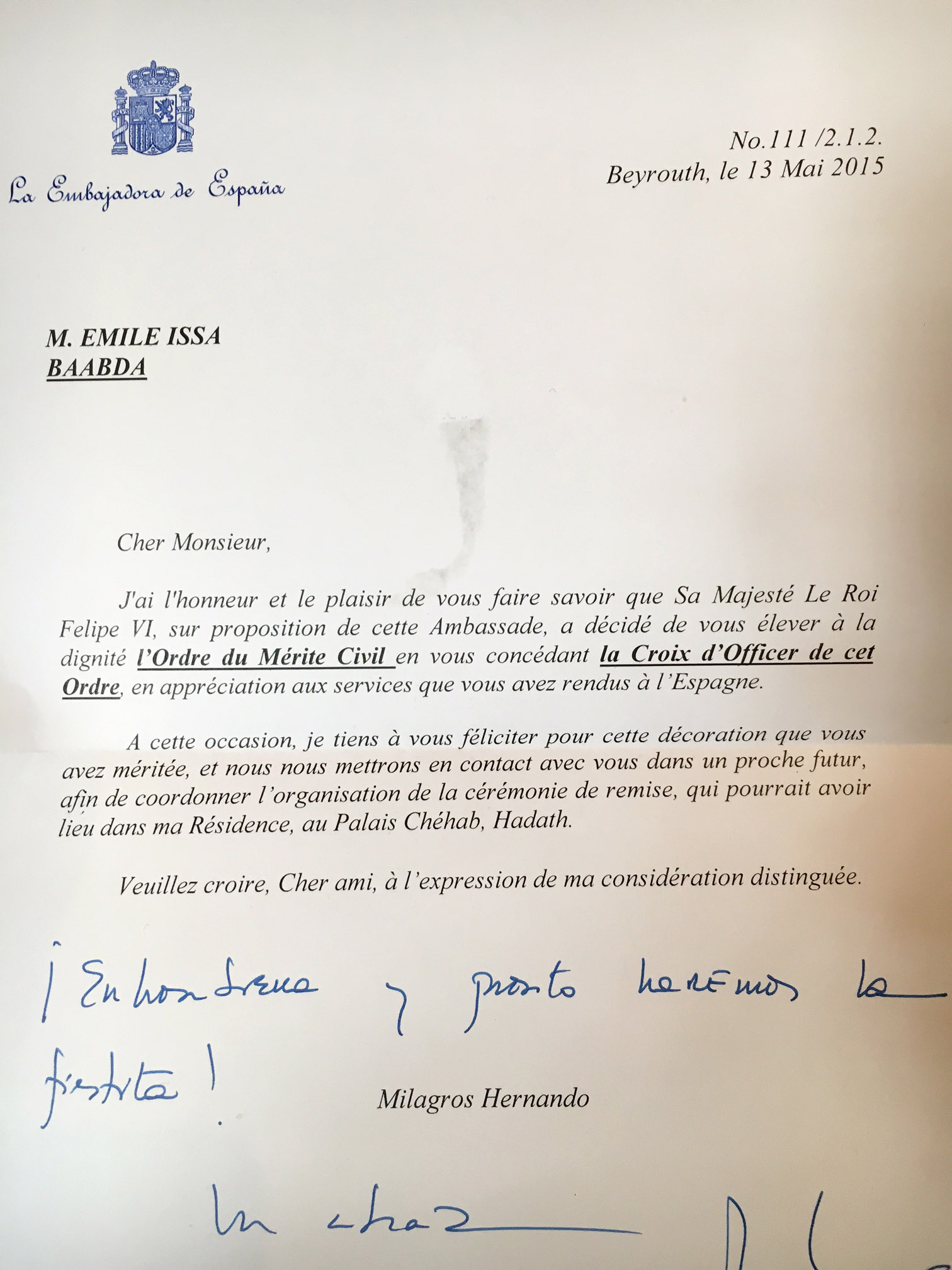 Décoration Officier de l'Ordre du Mérite Civil Espagnol Emile Issa